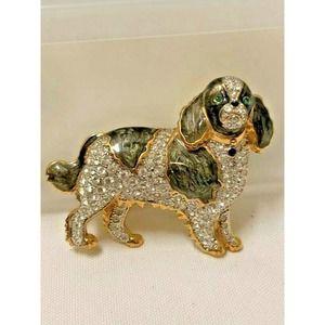 Cocker Spaniel Enameled Dog Brooch CT -Rhinestones